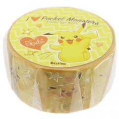 Pocket Monster Pokemon Japanese Washi Paper Masking Tape - Pikachu with Foil Gold