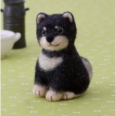 Japan Hamanaka Wool Needle Felting Kit - Black Shiba Inu
