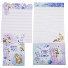 Japan Disney Letter Envelope Set - Chip & Dale Purple