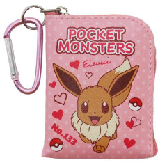 Japan Pokemon Mini Pouch Key Bag with Hook - Eevee
