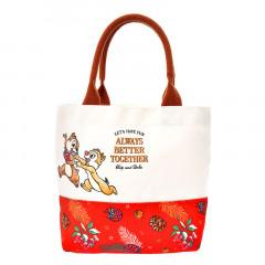 Japan Disney Canvas Tote Bag - Chip & Dale Happy Always Better Together
