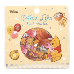 Japan Disney Masking Seal Flake Sticker - Winnie The Pooh Glitter
