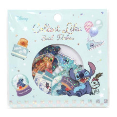 Japan Disney Masking Seal Flake Sticker - Stitch Glitter