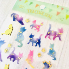 Colorful Stickers with Foil Gold - Cats