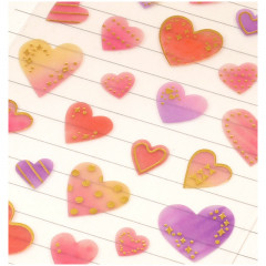 Colorful Stickers with Foil Gold - Heart