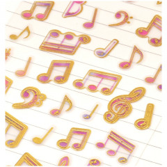 Colorful Stickers with Foil Gold - Music Note