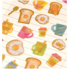 Colorful Stickers with Foil Gold - Breakfast