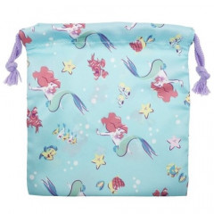 Japan Disney Drawstring Bag - Little Mermaid Ariel in the Sea