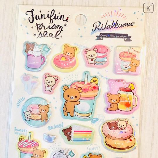 Japan San-X Rilakkuma Bear Seal Sticker - Pearl Bubble Donuts Deli - 2