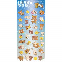 Japan San-X Rilakkuma Bear Seal Sticker - Pearl Bubble Stars Night