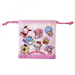 Japan Sanrio Drawstring Bag - Charactrers Pink