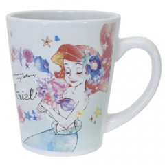 Japan Disney Princess Ceramic Mug - Little Mermaid Ariel & Flower