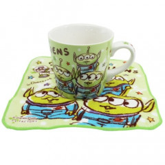 Japan Disney Ceramic Mug & Mini Towel Set - Toy Story Little Green Men