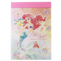 Japan Disney B8 Mini Notepad - Little Mermaid Ariel & Friend