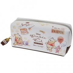 Japan Disney Makeup Pencil Bag Zipper Pouch - Winnie the Pooh & Piglet