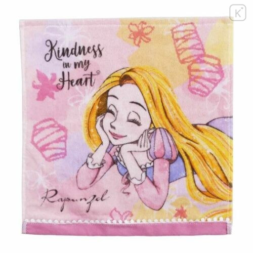 Japan Disney Fluffy Handkerchief Wash Towel - Rapunzel - 1