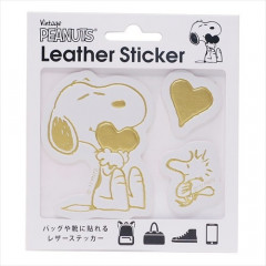 Japan Peanuts Leather Sticker - Snoopy Hug Gold