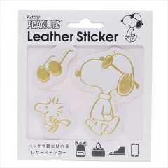 Japan Peanuts Leather Sticker - Snoopy Cool Gold