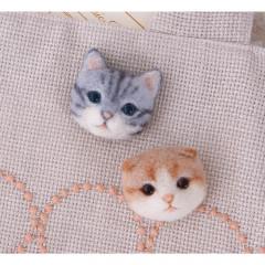 Japan Hamanaka Wool Needle Felting Kit - American Shorthair Scottish Fold Cat Brooch