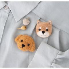 Japan Hamanaka Wool Needle Felting Kit - Shiba Dog Toy Poodle Dog Brooch