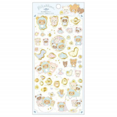 Japan San-X Rilakkuma Bear Seal Sticker with Gold Foil - Dinosaur