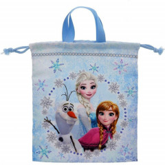 Japan Disney Drawstring Bag Hand Bag- Frozen II Elsa & Anna