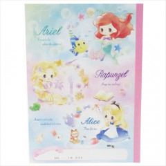 Japan Disney B5 Glue Blank Notebook - Ariel & Rapunzel & Alice