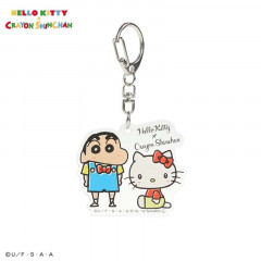 Japan Sanrio Acrylic Charm Key Chain - Hello Kitty × Crayon Shinchan
