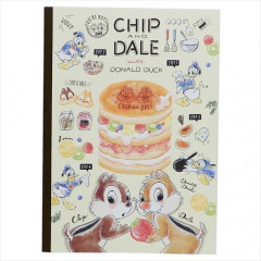 Japan Disney B5 Glue Blank Notebook - Chip & Dale Dessert