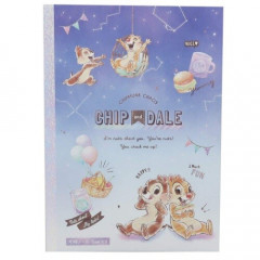 Japan Disney B5 Glue Blank Notebook - Chip & Dale Star Night