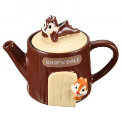 Japan Disney Pottery Teapot - Chip & Dale Tree House