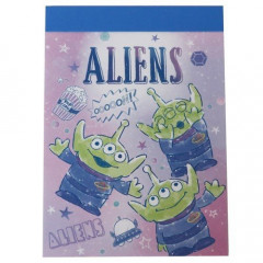 Japan Disney B8 Mini Notepad - Toy Story Alien Little Green Men Purple