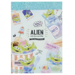 Japan Disney B8 Mini Notepad - Toy Story Alien Little Green Men Ice Cream
