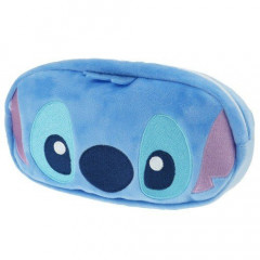 Japan Disney Fluffy Pouch Makeup Bag Pencil Case - Stitch Faces