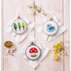 Japan Hamanaka Fluffy Embroidered Wool Needle Felting Kit - Chicken & Mushroom & Tree