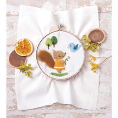 Japan Hamanaka Fluffy Embroidered Wool Needle Felting Kit - Squirrel & Little Bird