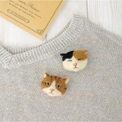 Japan Hamanaka Wool Needle Felting Kit - Sleeping Cat & Fute Cat Brooch
