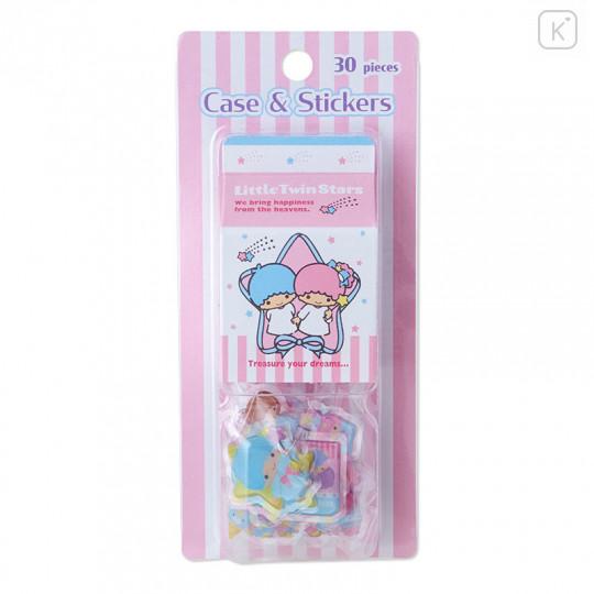 Japan Sanrio Sticker with Milk Pack Case - Little Twin Stars - 1