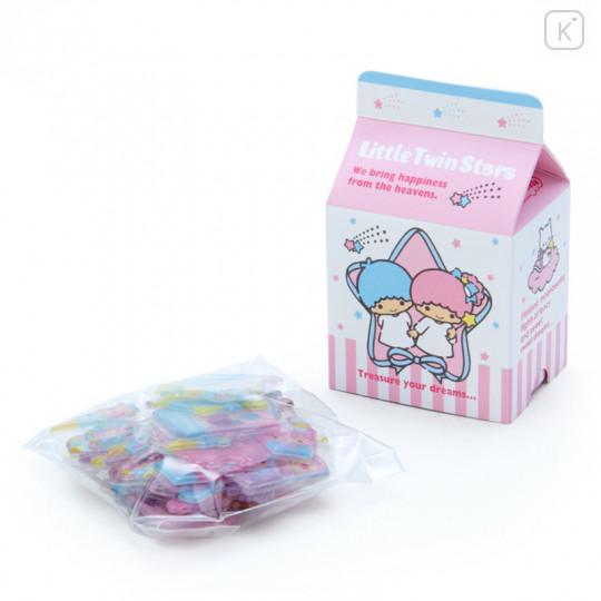 Japan Sanrio Sticker with Milk Pack Case - Little Twin Stars - 2