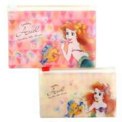 Japan Disney Zip Folder File Set 2 Size - Little Mermaid Ariel