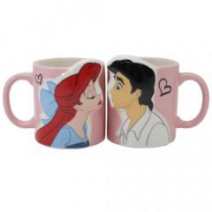 Japan Disney Princess Ceramic Mug - Little Mermaid Ariel Kiss Eric with Gift Box Set