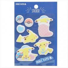 Japan Pokemon Puffy Sticker - Pikachu Good Night
