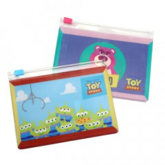 Japan Disney Zip Folder File Set 2 Size - Toy Story Little Green Men & Lotso Bear