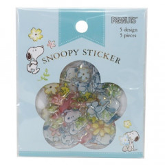 Japan Peanuts Plump Flake Sticker - Snoopy & Flower