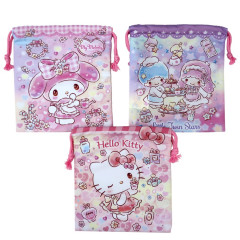 Japan Sanrio Drawstring Bag 3pcs Set - Hello Kitty Melody Little Twin Stars