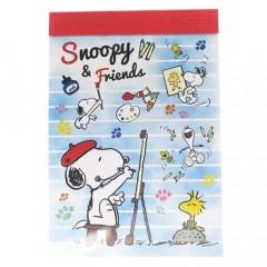Japan Peanuts B8 Mini Notepad - Snoopy & Friends Painting