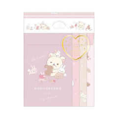 Japan Rilakkuma Letter Envelope Set - Korilakkuma & Chairoikoguma Rabbit