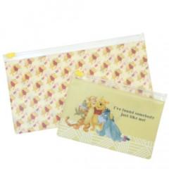 Japan Disney Zip Folder File Set 2 Size - Winnie The Pooh