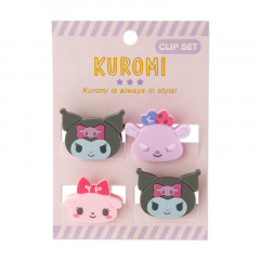 Japan Sanrio Mini Face Clip Set - Kuromi