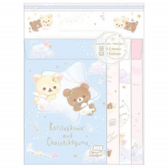 Japan Rilakkuma Letter Envelope Set - Korilakkuma & Chairoikoguma Fluffy Angel